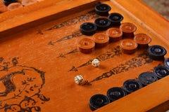 Vintage board game backgammon Royalty Free Stock Image