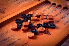 Vintage board game backgammon Stock Photo
