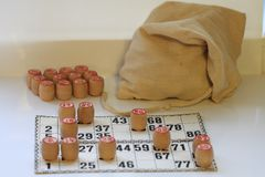 Vintage board game lotto, kegs, wooden Stock Image
