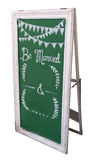 Vintage board with stand. Decorated board with stand  in isolate background for outdoor wedding board Royalty Free Stock Photo