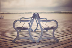Vintage boardwalk benches Royalty Free Stock Image