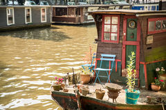 Vintage boat on Dutch Canal Royalty Free Stock Photography