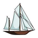 Vintage boat explorers.Sailboat on which ancient people traveled around the Earth.Ship and water transport single icon Stock Photos