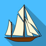 Vintage boat explorers.Sailboat on which ancient people traveled around the Earth.Ship and water transport single icon Royalty Free Stock Images