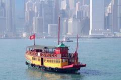 Vintage boat in Hong Kong stock photos