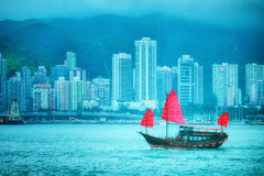 Vintage boat in Hong Kong Stock Image