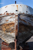 Vintage boat hull in dry dock Royalty Free Stock Photo