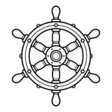 Retro boat steering wheel or rudder illustration Royalty Free Stock Photos
