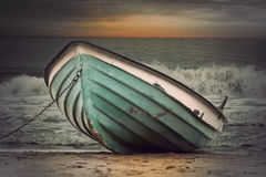 Vintage boat in stormy weather Royalty Free Stock Images