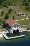 Vintage Boathouse, Aerial View. Aerial view of a boathouse built by a millionaire in days gone by. The structure is now a museum and ferry landing at Rock Island stock photography