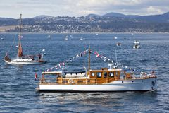 Vintage boats are docked at the  Victoria Classic Boat Festival. Stock Photography