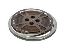 Vintage bobines de film de 16 millimètres d'isolement sur le blanc Photos stock
