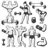 Vintage Body Building Icon Set Royalty Free Stock Image