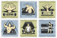 Vintage Body Building Poster Set Royalty Free Stock Image