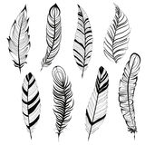 Vintage bohemian feather big set isolated on white background Hand drawn vector illustration. Template for your design Stock Photo
