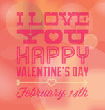 Vintage Bokeh Valentines Day Card. Retro style Valentines Day card with bokeh effect background and the date Royalty Free Stock Photos