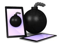 Vintage bomb gaming on touchpad smart phone. An illustration of a vintage bomb and a touch screen smart phone showing gaming on a white  background Stock Photos