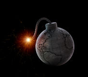 Vintage bomb with the world map stock illustration