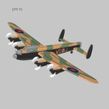 Vintage bomber vector illustartion. WW2 heavy military aircraft. Legendary retro airplane Stock Photography