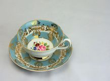 Vintage Bone China Tea Cup and Saucer. Ready for a relaxing afternoon tea royalty free stock image