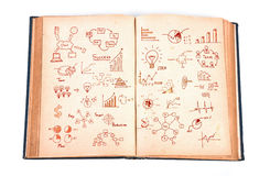 Vintage book with business graph Stock Image