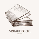Vintage Book Hand Draw Sketch Card. Vector Stock Photography