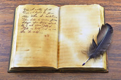 Old book with feather 2 Stock Photo