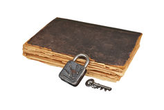 Vintage book, key and lock Stock Image