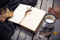 Vintage book, knitted sweater with autumn leaves and coffee mug Royalty Free Stock Photos