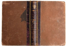 Vintage book with leather backs. Ancient book with gold pocket chain stock photos