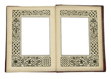 Vintage book opened, with picture frames Stock Images