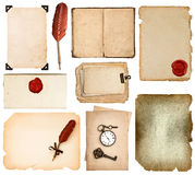 Vintage book pages, cards, photos, pieces isolated on white Stock Photo