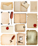 Vintage book pages, cards, photos, pieces isolated on white Royalty Free Stock Image