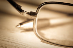 Vintage book, pan and glasses Royalty Free Stock Photography