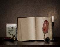 Free Vintage Book, Pen, Watch And Candle Royalty Free Stock Image - 29919146