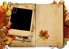Vintage book with polaroid frame, autumn. Royalty Free Stock Images