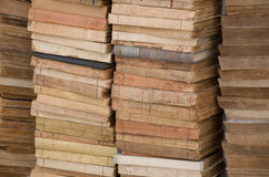 Vintage book wall. 4 stacks of old books. All titles/ authors, etc. have been removed royalty free stock image
