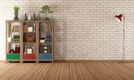 Vintage bookcase in a empty room Royalty Free Stock Image