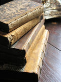 Vintage books 1. Pile of vintage books on wooden table Stock Photography