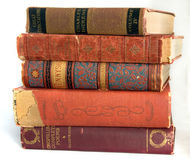 Vintage Books. A stack of very old, well read, worn books of poetry and novels Royalty Free Stock Image