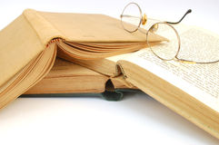 Vintage books #9. With glasses stock photography