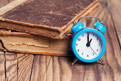 Vintage books and an alarm clock Stock Images
