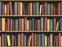 Vintage books on bookshelf. Old books tiled seamless texture bac. Kground vertically and horizontally. 3d illustration Royalty Free Stock Photos