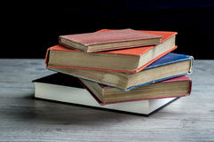 Vintage books. Close up of a pile of Vintage books royalty free stock images