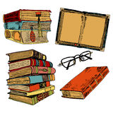 Vintage books color sketch Royalty Free Stock Photography