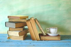 Vintage books, cup of coffee Royalty Free Stock Image