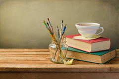 Vintage books, cup of tea royalty free stock image