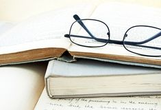 Vintage books and glasses Stock Photo