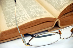 Vintage books with glasses #2. Vintage book with glasses on white background stock image