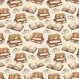 Vintage books illustration. Seamless pattern Stock Image